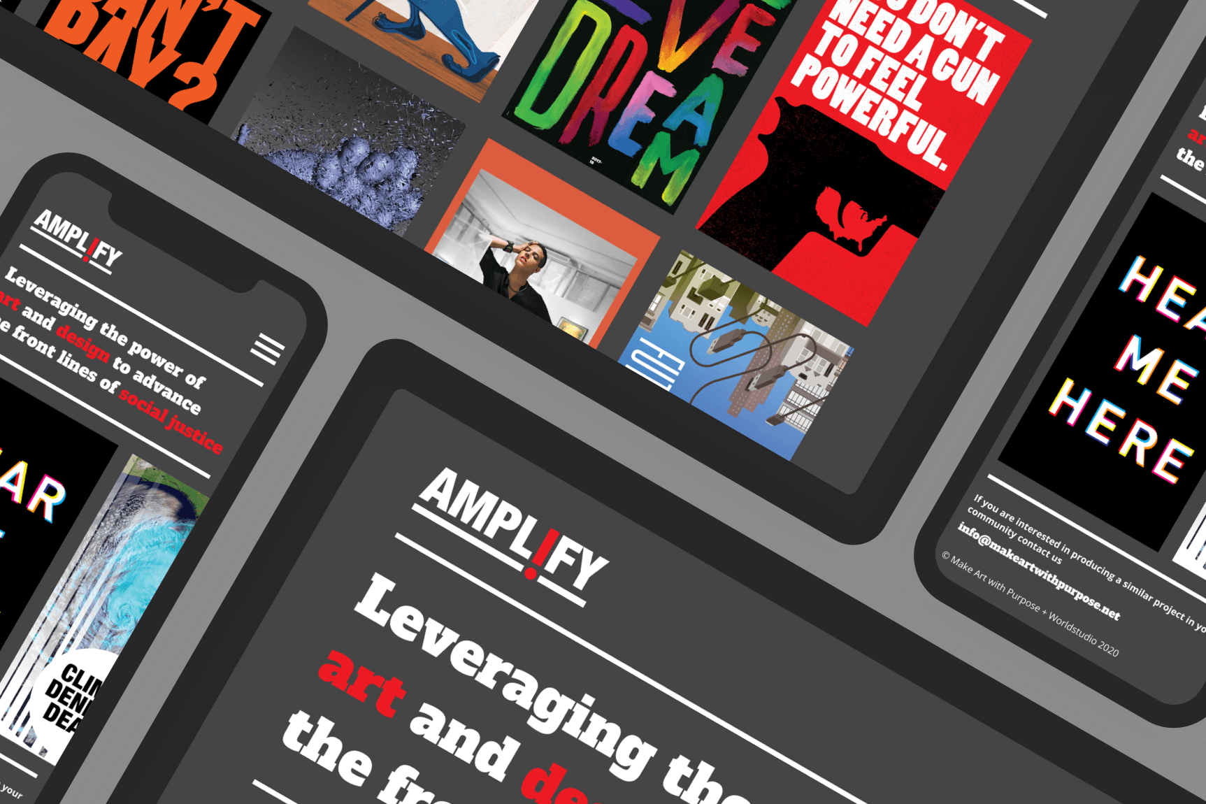 amplify mocked up on a tablet and phone