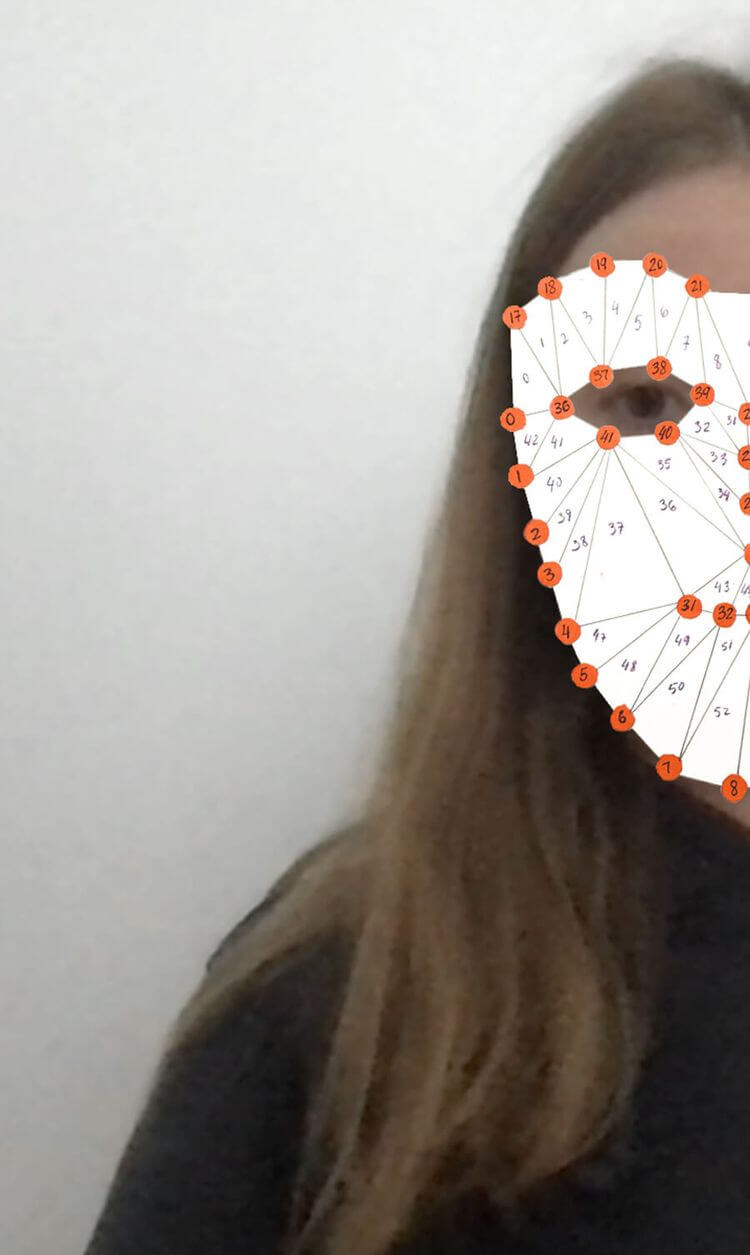 paper prototype of a face detection mask
