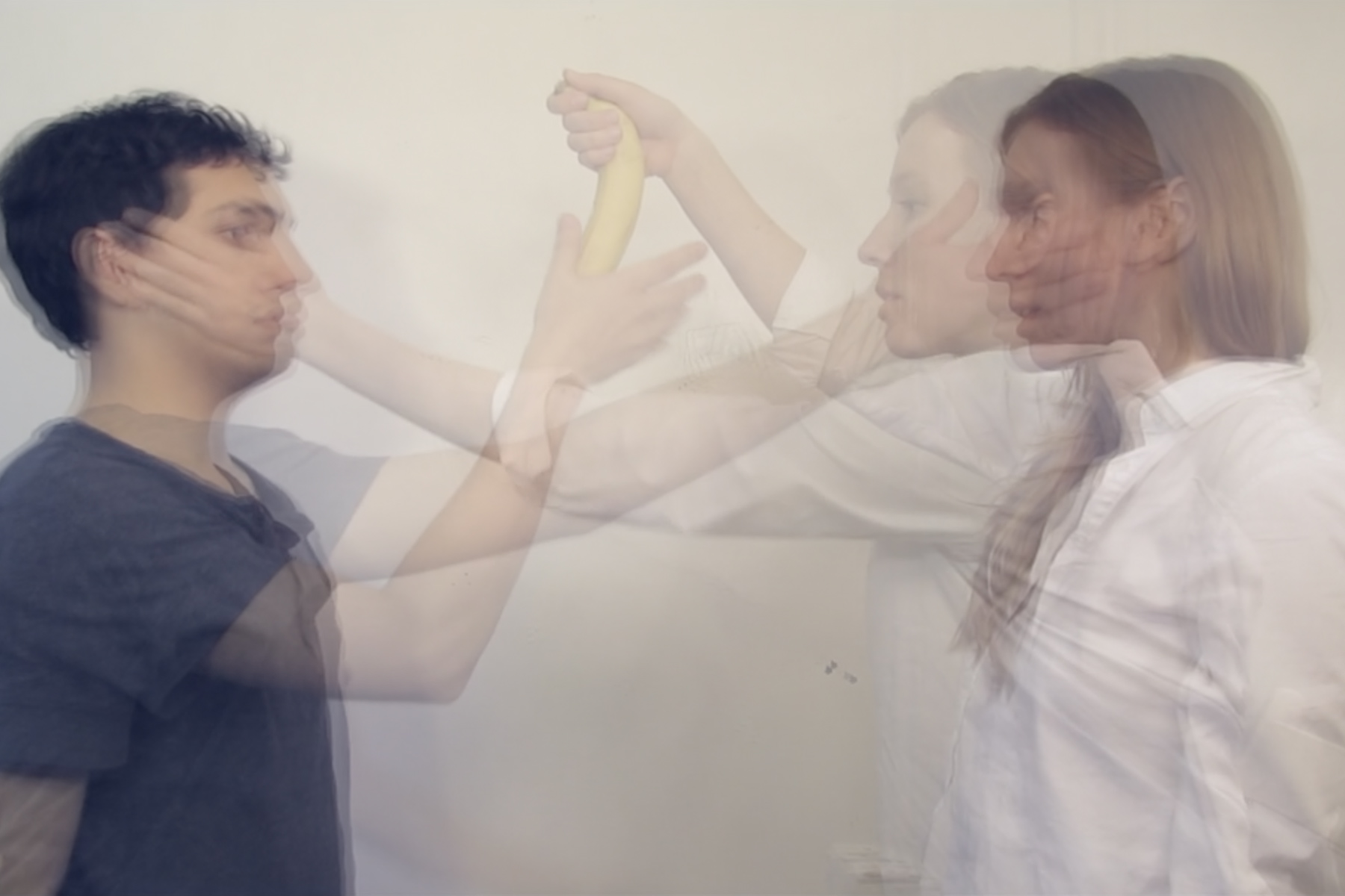 layered image depicting a man and woman at play